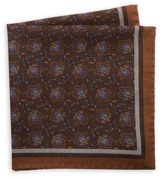 Saks Fifth Avenue Reversible Floral Wool Pocket Square