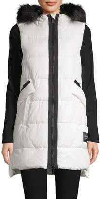 Calvin Klein Faux Fur-Trim Quilted Hooded Vest