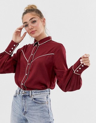 Monki western trim shirt-Red