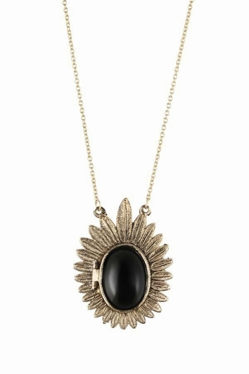 House Of Harlow Feather Cabochon Locket Necklace