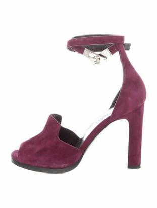 Hermes Nina Suede Sandals Purple
