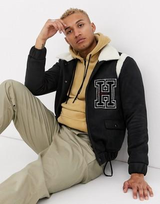 Hermano varsity jacket with fleece collar in black