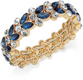 Charter Club Gold-Tone Blue and Clear Crystal Stretch Bracelet, Only at Macy's