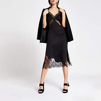 River Island Black lace satin midi slip dress