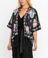 Flying Tomato Black Floral Satin Fringe Cardigan