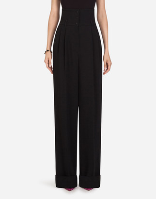 Dolce & Gabbana Cady Fabric High-Waisted Flared Pants