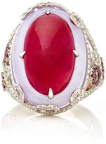 Martin Katz Oval Ruby Cabochon and Lavender Jade Ring