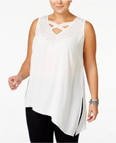 MBLM by Tess Holliday Trendy Plus Size Studded Chiffon Top