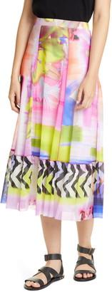 Fuzzi Floral & Chevron Print Midi Skirt