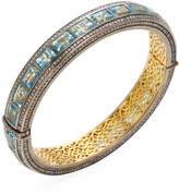 Arthur Marder Fine Jewelry Women's Silver, Blue Topaz & 3.00 Total Ct. Brown Diamond Bangle Bracelet