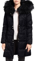 Via Spiga Women's Water Repellent Quilted Puffer Coat With Faux Fur Trim