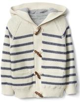 Stripe lined toggled sweater