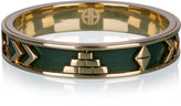 House Of Harlow 1960 Green Aztec Plate & Leather Bangle