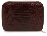 Smythson Mara Square Croc Embossed Leather Travel Case - Burgundy