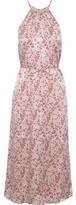 Joie Printed Hammered-satin Midi Dress