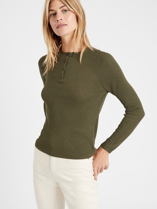 Banana Republic Henley Sweater Top with Silk
