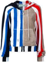 Off-White stripe panel hoodie - women - Cotton - S