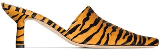 BY FAR Cynthia 65mm tiger-print mules