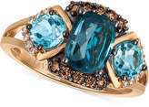 LeVian Le Vian Chocolatier Blue Topaz (2-5/8 ct. t.w.) and Diamond (1/5 ct. t.w.) Ring in 14k Rose Gold, Created for Macy's