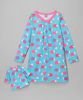 Dollie & Me Turquoise Sheep Nightgown & Doll Dress - Girls