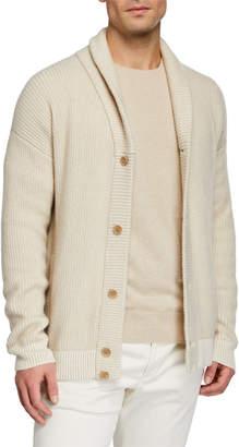 Loro Piana Men's Shawl-Collar Button-Front Rib Cashmere Cardigan