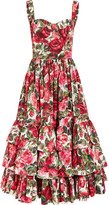 Dolce & Gabbana Ruffled Floral-print Cotton-poplin Dress - IT44