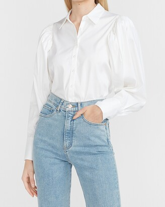 Express Puff Sleeve Button-Up Thong Bodysuit