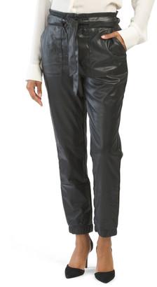Juniors Faux Leather Paper Bag Waist Pants