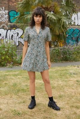 Urban Renewal Vintage Urban Outfitters Archive Navy and Teal Ditsy Floral Tea Dress - Blue XS at Urban Outfitters