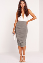 Missguided Slinky Gathered Midi Skirt Grey