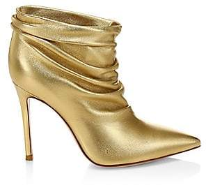 Gianvito Rossi Women's Cyril Ruched Metallic Leather Ankle Boots