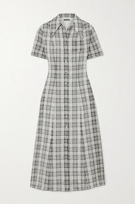 ALEXACHUNG Checked Seersucker Midi Shirt Dress - Ecru