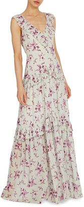 ML Monique Lhuillier Floral Print V-Neck Tiered Ruffle Gown