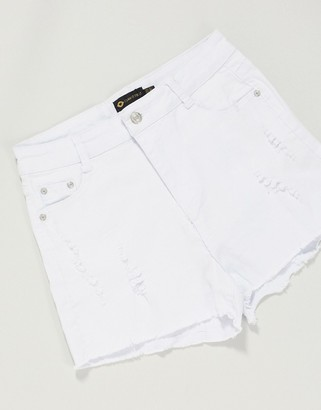 I SAW IT FIRST distressed skinny fit shorts in white