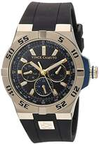 Vince Camuto Men's VC/1010BNGP The Master Multi-Function Dial Black Silicone Strap Watch