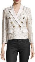 Versace Three-Quarter Sleeve Embellished Jacket, White