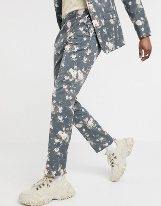 ASOS DESIGN skinny suit trousers in navy floral print