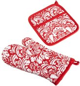 DII 100% Cotton, Machine Washable, Everyday Kitchen Basic, Damask Printed Oven Mitt and Pot Holder Gift Set, Tango Red