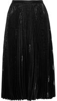 Diane von Furstenberg Heavyn Pleated Metallic Crepe Skirt - Black