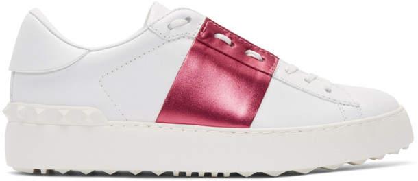 Valentino White and Pink Garavani Metallic Open Sneakers