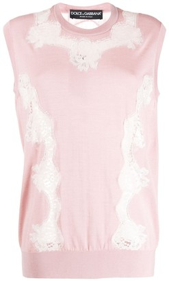 Dolce & Gabbana Lace Panel Sleeveless Jumper