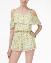 The Edit By Seventeen Juniors' Cold-Shoulder Pom Pom Romper, Created for Macy's