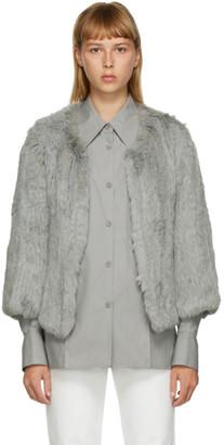 Yves Salomon Grey Fur Cropped Jacket