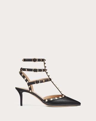 Valentino Rockstud Grainy Calfskin Ankle Strap Pump 65 Mm Women Black Calfskin 100% 37.5
