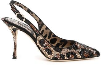 Dolce & Gabbana Leopard Print Embellished Slingback Pumps