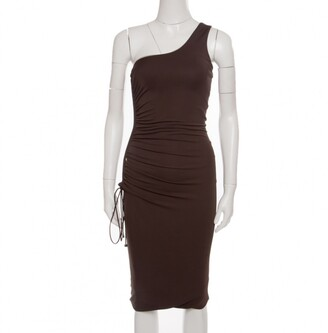 Gianfranco Ferre Brown Ruched Tie Detail One Shoulder Dress S