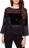 Damsel in a Dress Adonia Velvet Panel Sheer Blouse, Black
