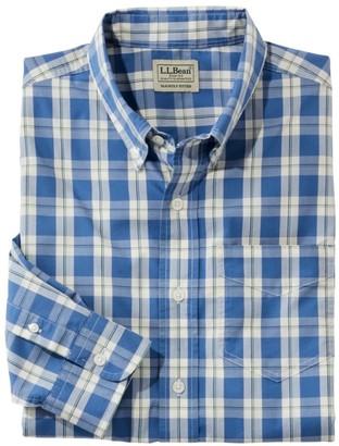 L.L. Bean Men's Comfort Stretch Poplin Shirt, Long-Sleeve, Plaid, Slightly Fitted