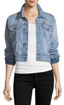 Joie Redmondia Cropped Denim Jacket w/ Jeweled Pins