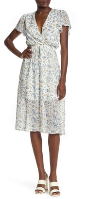 Rowa Surplice Neck Floral Print Midi Dress